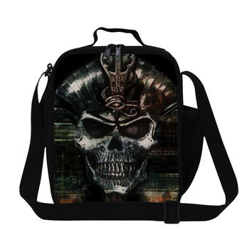 Cool Skull Print Kids Lunch Bag Mens Insulated Small Lunch Box Preppy Style Lancheira Termica Children Outdoor Picnic Bag