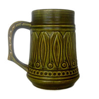 West German Pottery Stein, Mug, Jasba, Olive Green Beer Stein