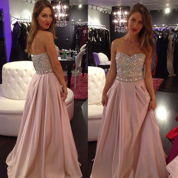 elegant luxury long Bridesmaid Dresses 2017 sweetheart beaded sleeveless chiffon women formal guest dress for wedding party