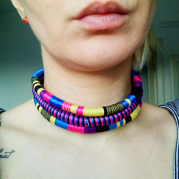 Rope Necklace, Tribal Necklace, Tribal Statement Necklace, Rope Choker, African Necklace, Aztec Necklace, Chokers, African Jewelry, Gift