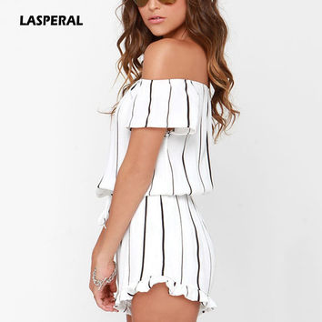 LASPERAL 2017 Women Summer Striped Ruffles Jumpsuit Sexy Off Shoulder Slash Neck Beach Playsuits Casual Rompers Overalls Femme