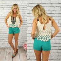 Like It Or Not Romper in Aqua
