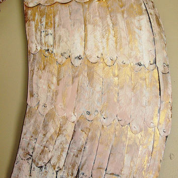 Large Angel Wing Sculpture with Matching Crown in Pink and Gold Shabby Decor French Nordic Chateau Chic