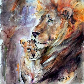 Cecil the Lion No More Original Watercolor & Ink 30 by 22 inch