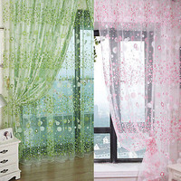Small Floral Tulle Voile Door Window Curtain Drape Panel Sheer Scarf  Valance HU