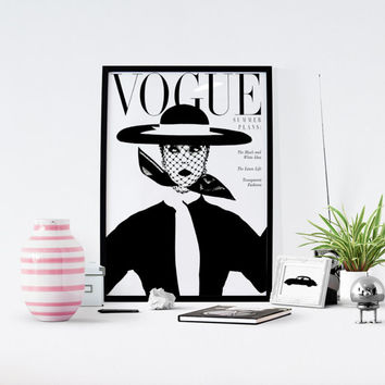 Vintage Vogue Cover, Fashion wall Art, 1950 Edition, Fashion Poster,  gift For her, Mode Affiche, Vintage Vogue poster, Vogue black white