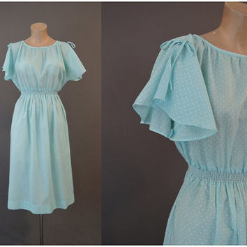 1970s Aqua Polka Dot Dress with Flutter Sleeves, fits 36 bust, elastic waist, Vintage Summer