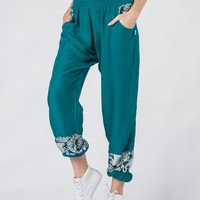 Zurura Teal Two Tone Ankle Harem Pants