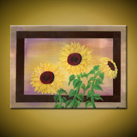 Sunset Sunflowers- Original Acrylic Painting, Yellow and Brown, Sunflowers with Border(Painting No. N032)