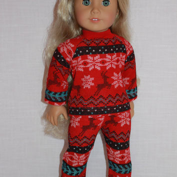 18 inch doll clothes, red fair isle print doll pajamas, matching handknit slippers, Christmas pyjamas, doll pjs,
