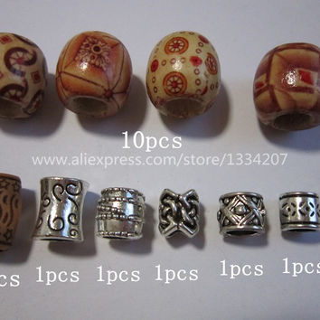 Free shipping 25Pcs/Lot mix wooden Acrylic metal hair braid dread dreadlock beads rings cuffs for braiding