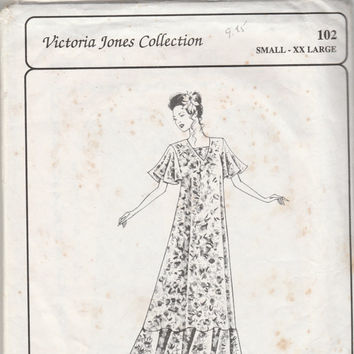 Victoria Jones Collection 102 Sewing Pattern Loose Fitting Hawaiian Muumuu Pullover Long Maxi Dress Full Circle Ruffle Size S – XXL Vintage