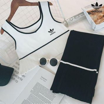 DCCK6HW Adidas' Women Simple Casual Multicolor Stripe Sleeveless Crop Tops Vest Set Two-Piece Sportswear