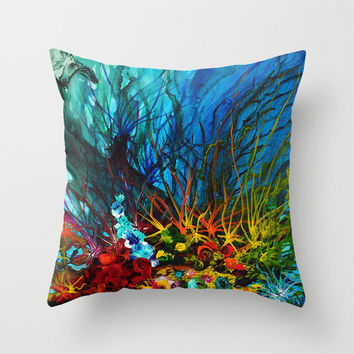 Art Throw Pillow, Abstract Pillow Cover, Teal, Blue, Red, Cushions, Decorative Pillow, Beach House Decor, Couch Sofa Pillow, Painting Pillow