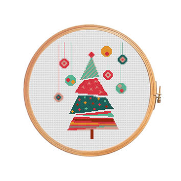 Christmas tree cross stitch pattern modern - red green balls stars mood gifts Christmas decorations winter december