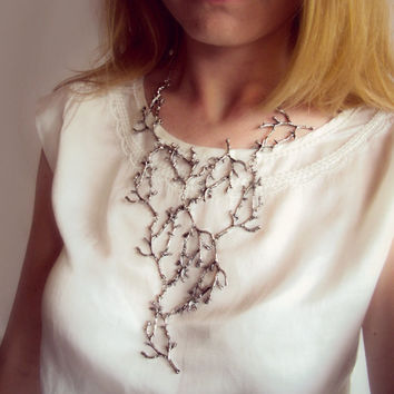 Statement Twig Necklace, Branch Necklace, Cascading Twig Necklace, Nature Jewelry, Woodland, Forest Jewelry, Metal Bib Necklace
