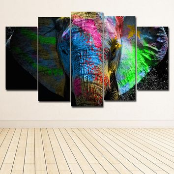 SELFLESSLY 5 Panels Colorful Elephant Animals Art Canvas Painting Posters Prints On Canvas Wall Picture For Home Decor Wall Art
