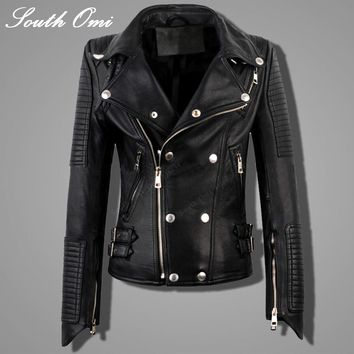 Genuine Leather Jacket Women Real Sheepskin Punk Rock Real Leather Jacket Rivet Motorcycle Biker Female Coat Jaqueta