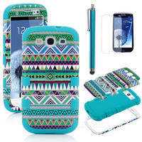Pen + For Samsung Galaxy S3 3 Hybrid High Impact Hard Case Tribal Blue Silicone