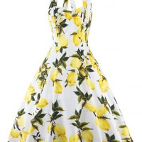 Vintage Halter Neck Lemon Print Dress For Women
