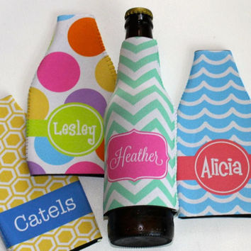 Monogrammed Bottle Koozie - Personalized Bottle Coozie - Choose your design