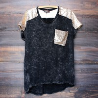 black acid wash vintage inspired gold sequin oversized top