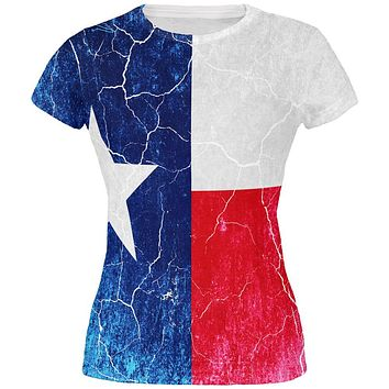 Texas Vintage Distressed State Flag All Over Juniors T Shirt