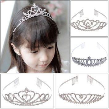 Shinning Princess Crown Bride Pageant Crowns Hair Comb Ornaments Jewelry Queen Diadem Wedding Bride King Headband Hair Jewelry