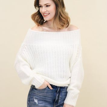 Off Shoulder Knitted Sweater (Multiple Colors Available)