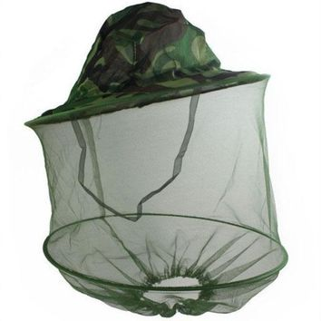 DCCKL72 Camouflage Mosquito Cap Women Men Midge Fly Insect Bucket Hat Fishing Camping Field Jungle Mask Face Protect Cap Mesh Cover