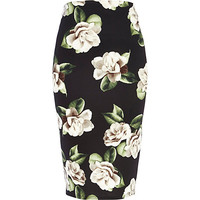 River Island Womens Black floral print pencil skirt