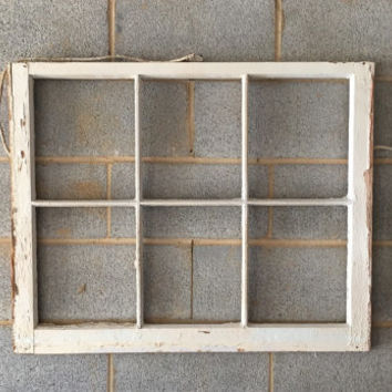 NO GLASS Vintage 6 Pane Window Frame - White, 36 x 27, Rustic, Wedding, Beach, Home, Decor, Photos, Pictures, Business, Holiday, Farmhouse