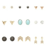 Multi Arrow & Chevron Stud Earrings - 9 Pack by Charlotte Russe
