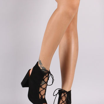 Qupid Suede Lace-Up Chunky Mule Heel