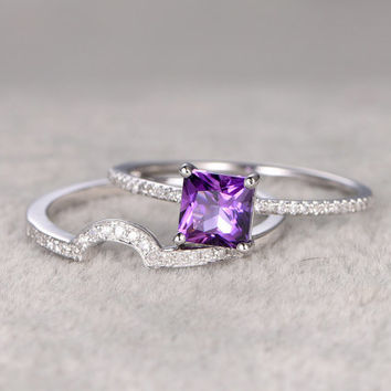 2pcs Natural Amethyst Bridal Ring Set,Engagement ring,14k White gold,Diamond Curved wedding band,6mm Princess Cut,Gemstone Promise Ring