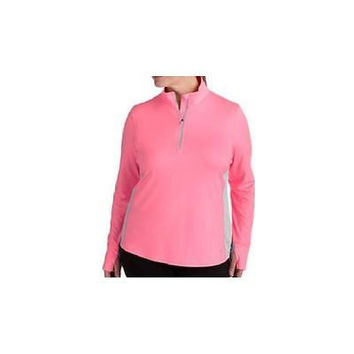 Women's 1/4 Zip Performance Pullover, Large, Pink/Gray Danskin Now