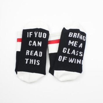 English alphabet series socks If you can read this bring me glass wine personality Sock Spring Summer Comfortable funny Socks