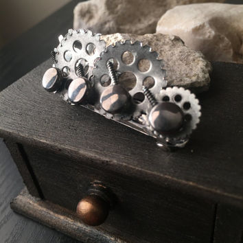 Steampunk Hair Clip Hardware, Steampunk Hair Accessories Silver, Steampunk Hair Accessory, Steampunk Hair, Alternative Jewelry, Steam Punk