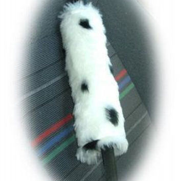 dalmation dog white and black spot print faux fur fluffy fuzzy furry car seatbelt pads covers 1 pair