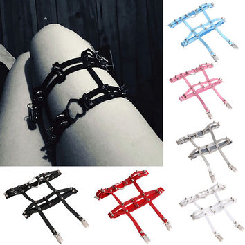 Sexy Women Sock Gothic Harajuku Elastic Garter Belt Punk Gothic Leather Heart Rivet Leg Ring -Y107
