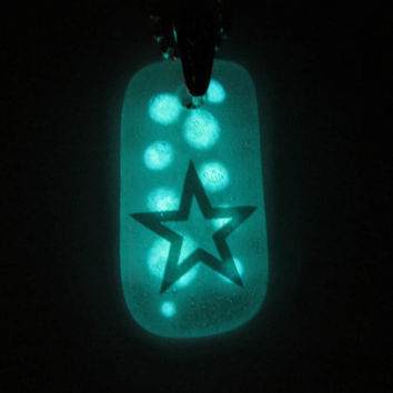 Glow in the Dark Glass Necklace with Star
