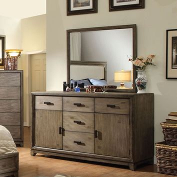 Lammers Transitional 5-Drawer Dresser and Mirror in Natural Ash