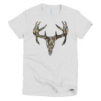 Camo Deer Skull women's t-shirt