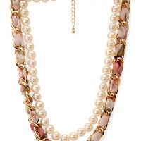 FOREVER 21 Pretty Tough Faux Pearl Necklace Cream/Gold One
