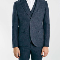 Navy Wool Rich Skinny Fit Three Piece Suit - Skinny Fit Suits - Suits - TOPMAN USA