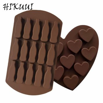 Classic Silicone Chocolate Mold Safety Mould Coke Bottle,Pyramid Shape,Love Shape Kitchen DIY Tools Ice Cube Tray