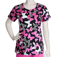 Nrg by Barco Uniforms Womens 3 Pocket Round Neck Butterfly Print Scrub Top