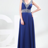 Blue Deep V-Neck Beaded Chiffon Evening Dress