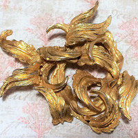 Har Gold Tone Interwoven Leaf PIn Textured Leaves Brooch Signed Figural Botanical Jewelry Vintage Costume Jewellery 318