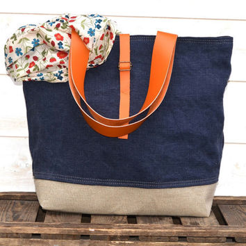 NEW Eco friendly  French tote bag  with Hermes Orange Leather strap / Market tote with Linen -Eco nautical COTTAGE CHIC
